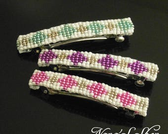 hair clip, woven, white and pink beaded