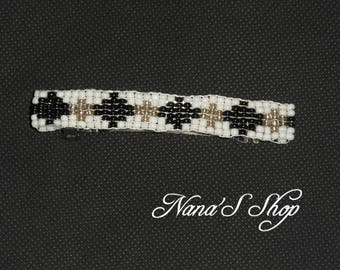 hair clip, woven, white and black beads