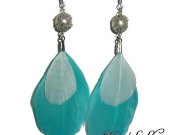 Lagoon blue feather earrings.