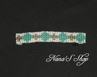 hair clip, in woven, white and turquoise beads