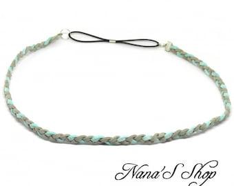Braided Suede, mint & gray thin headband.