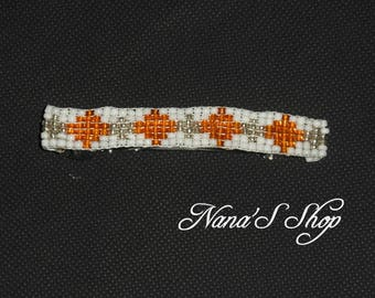 hair clip, woven, white and orange beads