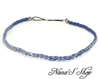 Headband braided Suede, blue, Rhinestones,.