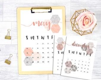 2017 - 2018 (18 month) printable calendar, rose gold, gold foil, marble