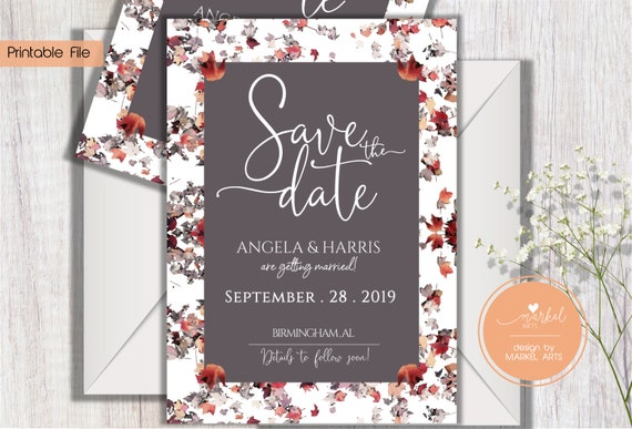 Wedding invitation template Digital File Fall Wedding Autumn Wedding Bridal Shower Save the Date invitation Card invitation printable