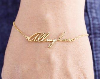 Handwriting Bracelet - Personalized Memorial Signature Bracelet - Name Bracelet - Personalized Jewelry -  Gift For Mom - Name Bracelet