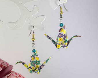 Origami crane swarovski crystal earrings