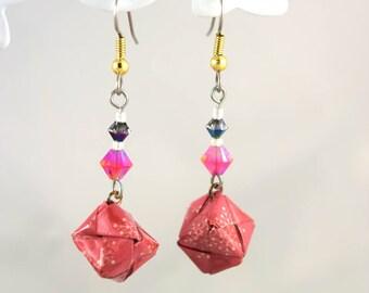 Spring earrings origami paper pink cube swarovski crystal Japanese