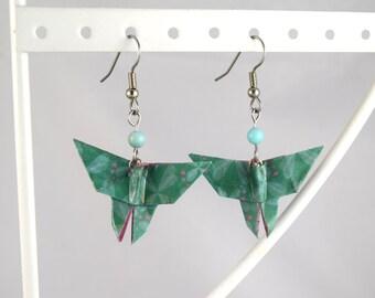 Paper origami earrings Japanese blue moth