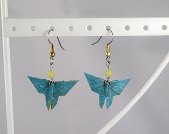 Paper origami earrings Japanese yellow blue moth