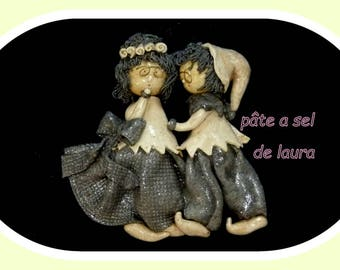 a lovely couple in salt dough hanging