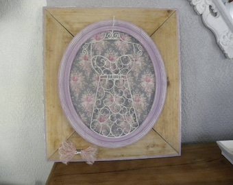 Bust frame Shabby pink wood