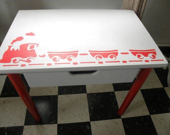 School desk stenciled red train