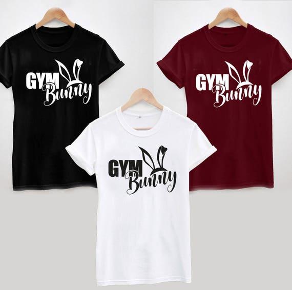 GYM BUNNY  FUNNY SLOGAN GYM T SHIRT UNISEX\LADIES GIFT IDEA TOP