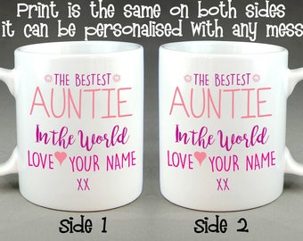 The Bestest Auntie (or Aunty) in the World Personalised Mug