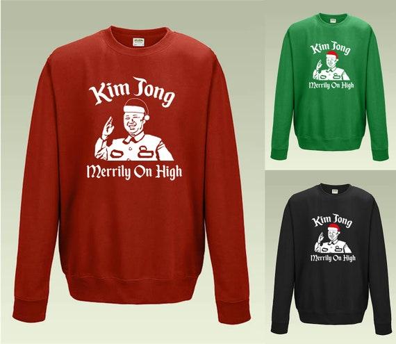 f0a418f0e Kim Jong Merrily on High JH030 Funny Christmas Jumper Sweater | Etsy