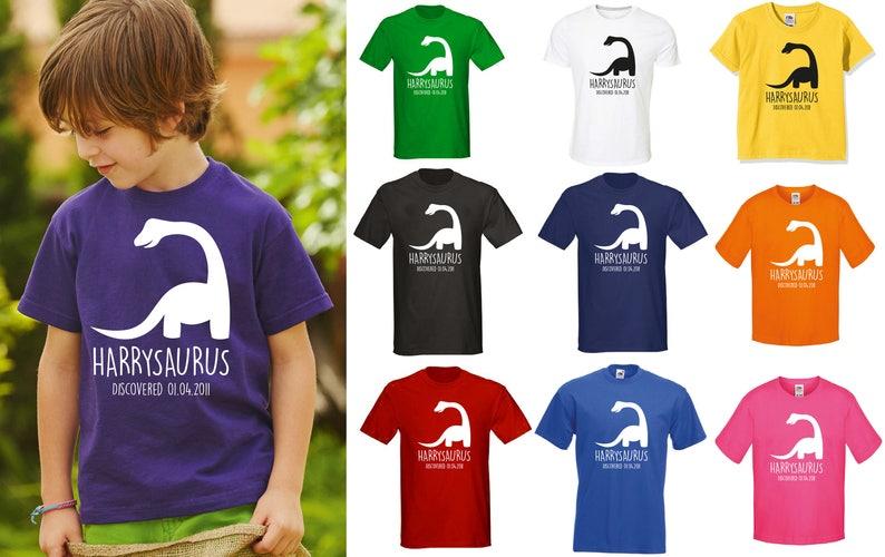 acheter populaire e47f2 695f2 T-shirt personnalisé dinosaure pour enfants-n'importe quel nom et date  anniversaire des enfants Dino
