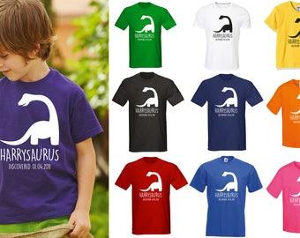 Kids Personalised Dinosaur T-Shirt - Any Name and Date Children's Birthday Dino