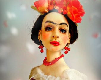 sold. art doll Frida, artist rug doll, collection doll Frida Kahlo inspiration, OOAK art doll, cloth doll, rug doll ooak Frida