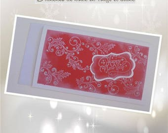 """Greeting card - """"Red white Holly Branches"""""""