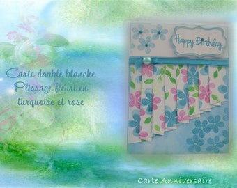 HB-2017-0014 - birthday card - turquoise and pink floral curtain