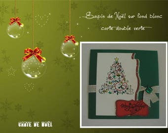 Christmas - Christmas tree decorated on white background on green card