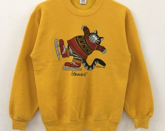 Vintage CRAZY SHIRT Hawaii Big Cat Screen Yellow Sweatshirt Size M 48jgkVs5q