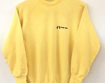 Vintage HANG TEN Small Logo Licensed by Hang Ten International,USA Yellow Sweatshirt