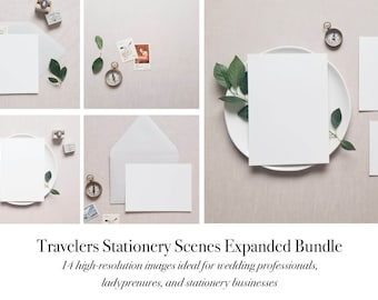 Download Free EXPANDED Romantic Travelers Wedding Stationery Branding Mockup Flatlay PSD Template
