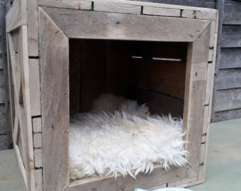 Handmade natural rustic wooden crate cat dog pet house shelter den bed kennel nesting