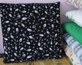 Recycled jersey black and white pillow cover, 40cm x 40cm