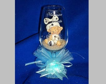 Glass deco engraved and personalized baby baptism, Inscriptions and design choice