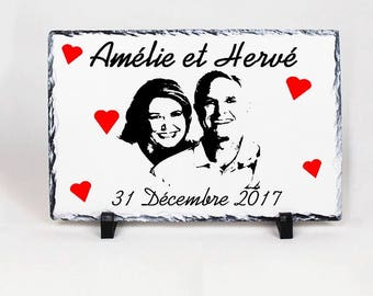 Decorative slate with black and white portrait or picture and Inscriptions to choose