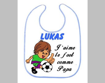 Personalized bib, first name, a toy, soccer design, Breton, Rooster, horse, ladybug, Rooster chicken hen