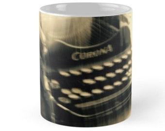 Vintage Corona Typewriter Ceramic Mug, Photograph by Noora Elkoussy, Original Artwork, Designer Mug, OOAK