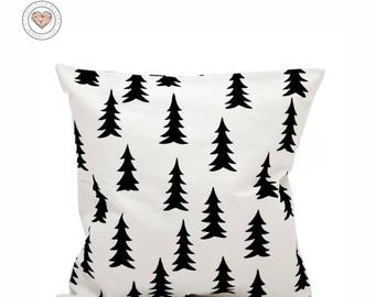 Pines, Tree Forest, Black and White, Nordic, Modern, Minimalist, Scandinavian, Pillow, Cushion