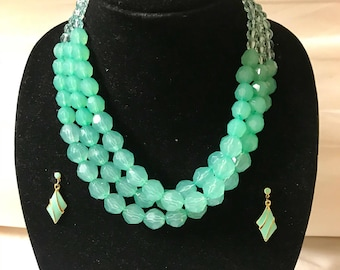 Aqua green beaded necklace with matching earrings. Aqua green statement  necklace