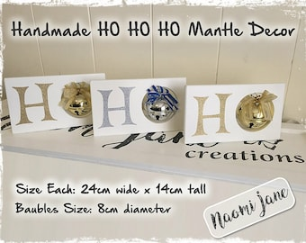 Christmas HO HO HO Mantle Decoration - Gold & Silver