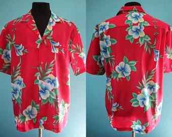 c743c4ca Yacht Rock Shirt 80's Men's Red Hibiscus Print Magnum P.I. Poly Hawaiian  Shirt