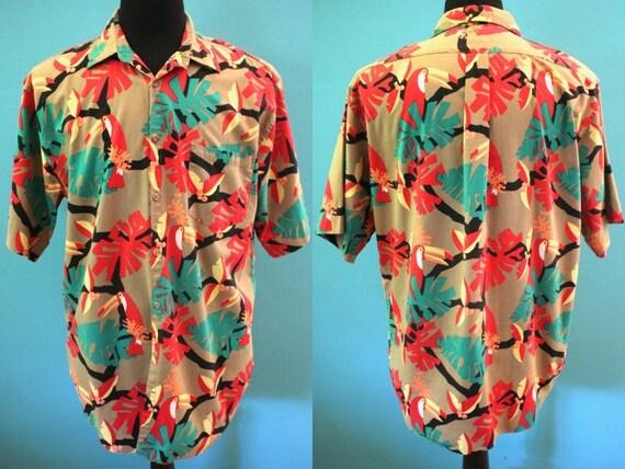 Yacht Rock Shirt 1980's Toucan Print Hawaiian Shir