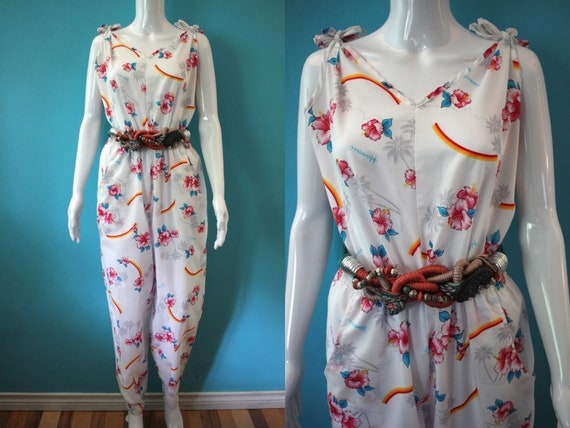 Yacht Rock Jumpsuit   80's Hawaiian Print Poly Jum