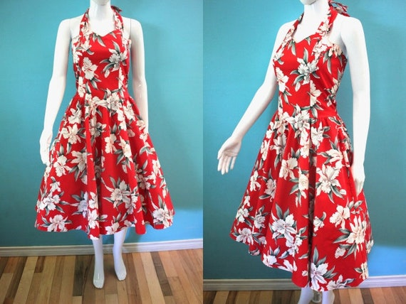 Yacht Rock Dress 1980's Red Orchid Print Halter Dr