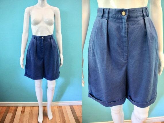 Yacht Rock Shorts 1980's Women's Navy Linen Bermud