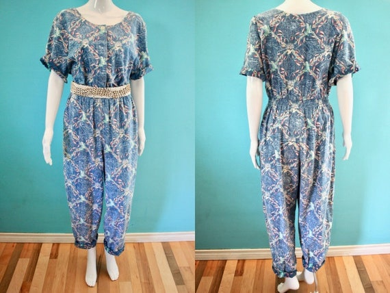 Yacht Rock Jumpsuit 80's Yacht Rock Era Blue Hawai