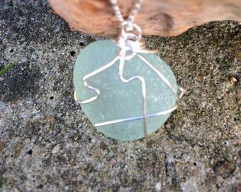 Aqua green frosted seaglass pendant