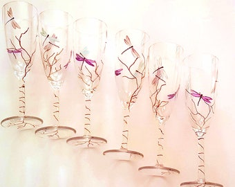 Libelules champagne flutes painted to the hand/dragonflies champagne glasses