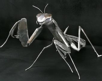 Handmade Metal Praying Mantis sculpture