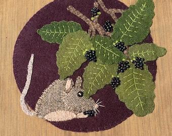 Wild & Wonderful   Block #2 Blackberry Bramble Wool appliqué kit (includes pattern and beads)
