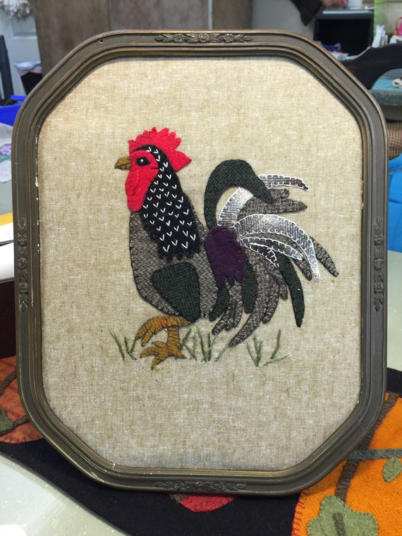 PDF Pattern only John Henry jr! The little Rooster Wool appliqué