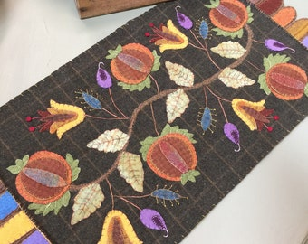 Pattern ONLY! Autumn Colors Table Runner  wool applique